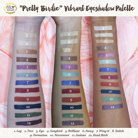 eyeshadow swatches pretty vulgar palette sephora