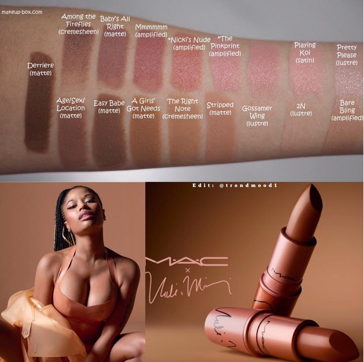 MAC X Nicki Minaj Limited Edition nude lipstick collection in shades Nicki's Nude and The Pink Print