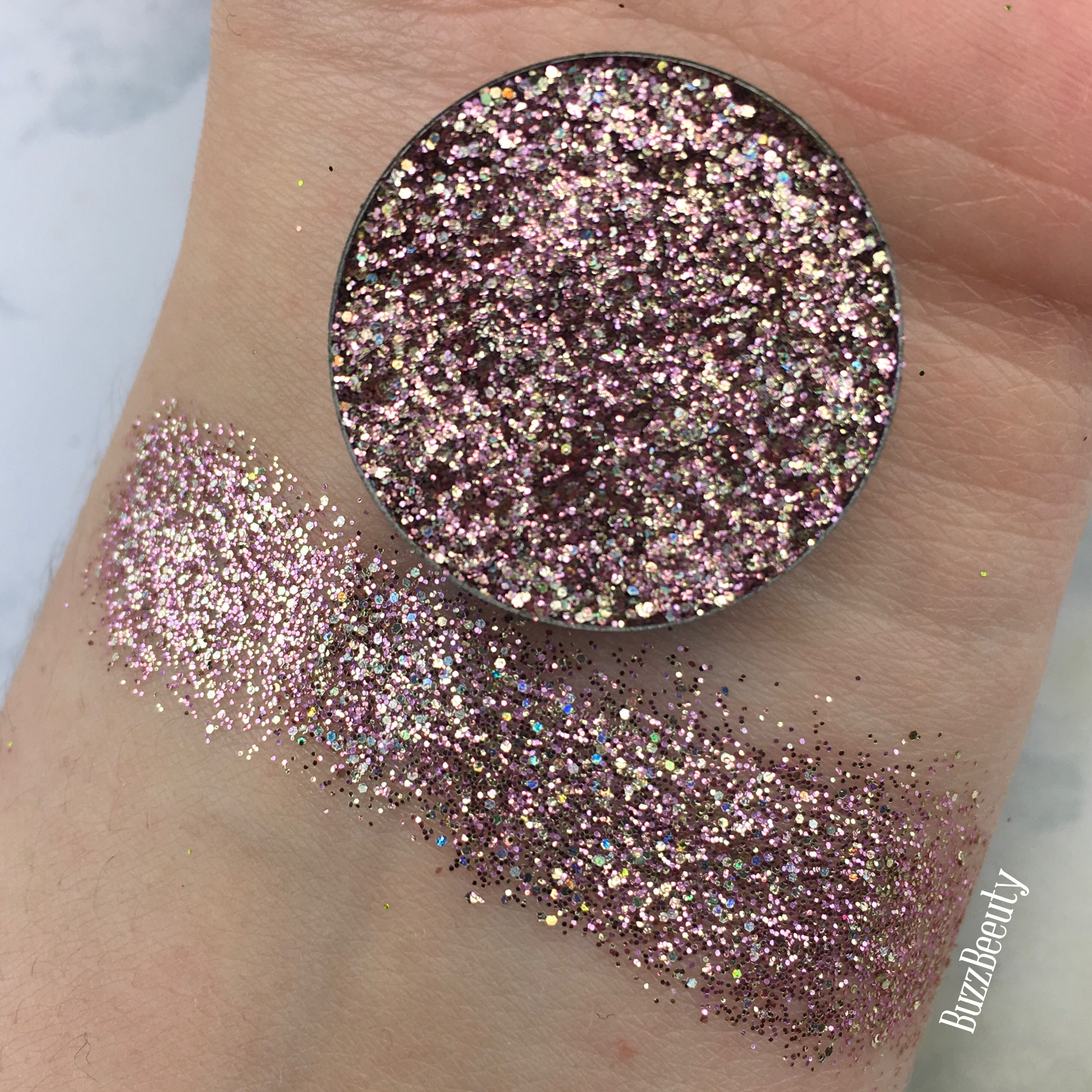 Dear Katie Brown Pressed Glitter Swatch in Christina. Rose Gold with holographic glitters.