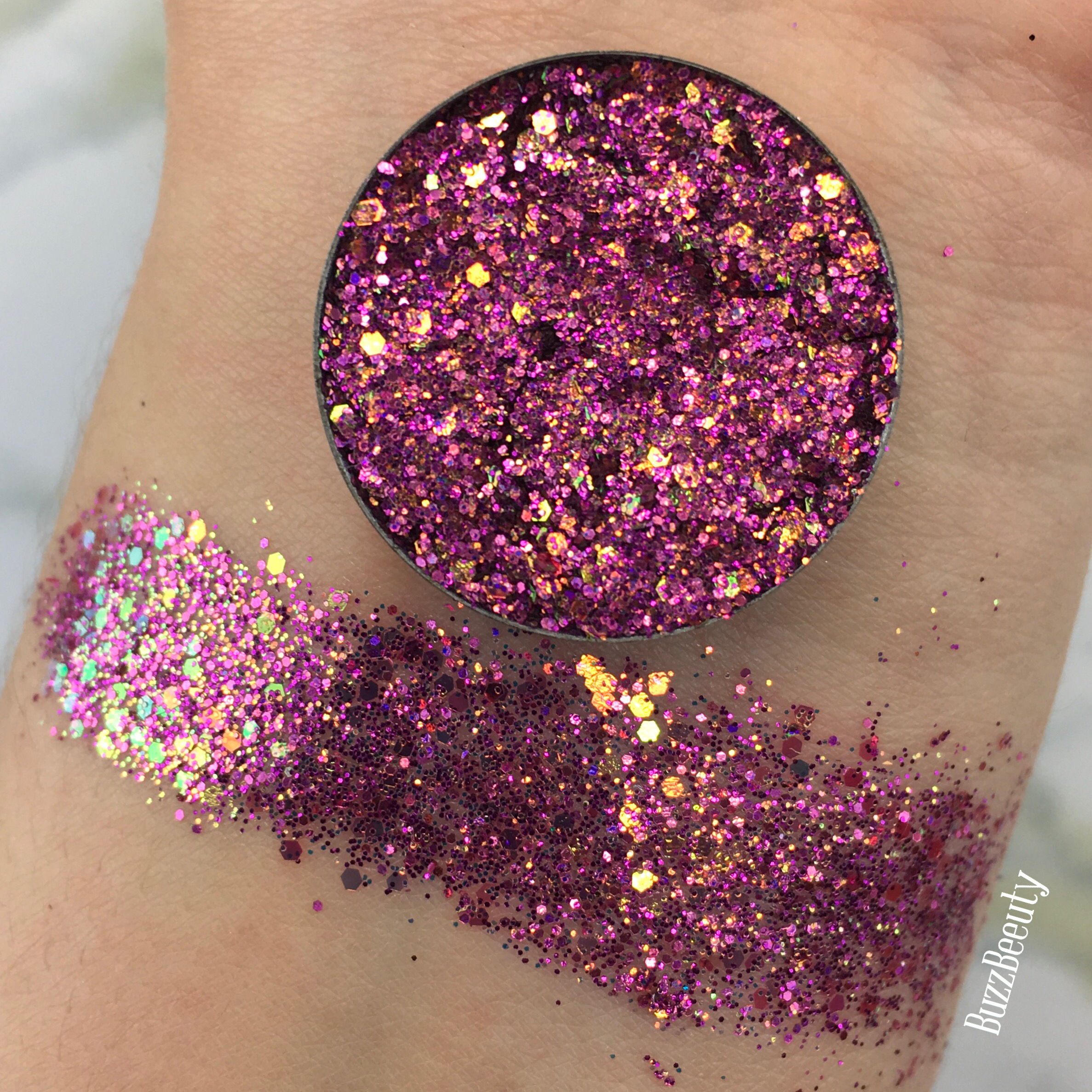 Dear Katie Brown Pressed Glitter Swatch in Melyda. Dark Pink with chunky holograhic glitters.