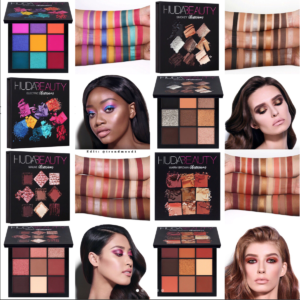 Huda Beauty Mini Eyeshadow palette swatches. Electric Obsession, Warm Brown Obsession, Smokey Obsession, and Mauve Obsession palettes.