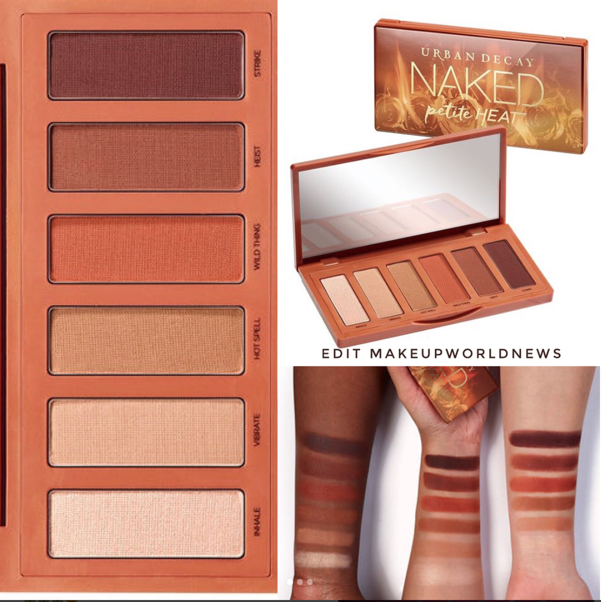 Urban Decay Naked Heat Mini palette Petite Heat Swatches